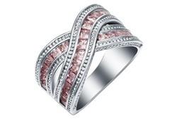 Pink színű köves gyűrű 8-as