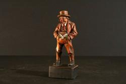 Antik Osztrák Faragott Fa Pipázó Férfi Figura 1934. Galtür Landeck Tirol Pipás