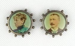 0Y075 Antik családi nyakláncmedál pár fotókkal