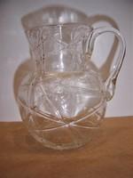 Antik bütykös kancsó formájú, fúvott szálhúzott fonaldíszes üveg kiöntő