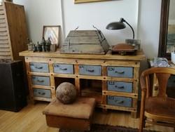 Ipari jellegű sokfiókos, sok fiókos szekrény, loft, vintage