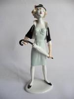 Unterweisbach német porcelán hölgy esernyővel