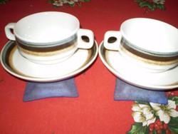 SCHÖNWALD Germany 9481 fehér csíkos porcelán leveses csésze alátéttel hibátlan