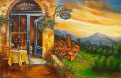 Egy gyönyörű naplemente egy mediterrán étteremben  olajfestmény szép keretben ingyenes házhoz szállí