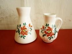 2 db Bodrogkeresztúri kerámia kancsó, korsó és váza virág mintával