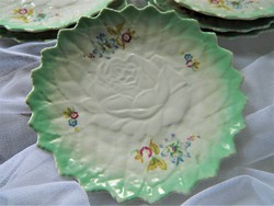 Meseszép antik dombornyomott rózsa díszítésű süteményes tányér 6 db, almazöld