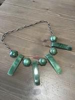 Régi ezüst nyaklánc zöld achát ásvánnyal díszítve