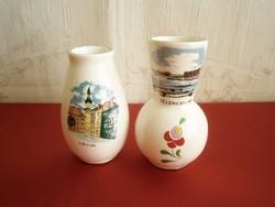 2 db Bodrogkeresztúri kerámia váza Sopron és Velencei-tó felírat és látkép
