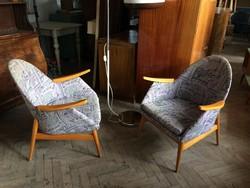 Régi retro fakarfás fotel mid century kagylófotel