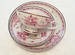 Régi Wallendorfi porcelán virágos csésze tányér 3 db