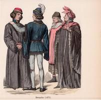 Viselettörténet (8), litográfia 1885, öltözet, ruha, divat, német, francia, történelem, 1470