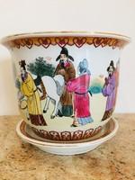 Kézzel festett kínai virágkaspó alátéttel. Különleges ősi minta.