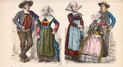 Viselettörténet (24), litográfia 1885, öltözet, ruha, divat, német, francia, történelem, Bretagne