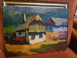 Ismeretlen festő: Nagybánya, olaj, vászon, feszítőkereten