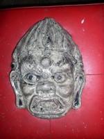 Vad indiai arc, -zománcozott betondombormű,- falra akasztható,- 28 x 20 cm, Schlachta Margit kerámia