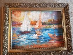 Szőke Zoltán, olaj, festőkés, farost, 56x40 cm, keret nélküli akció
