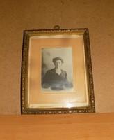 Antik üvegezett képkeret régi fényképpel 25*32 cm