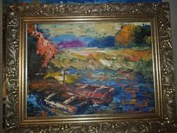 Szőke Zoltán, olaj, festőkés, farost, 57x45 cm, keret nélküli akció