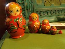 5 db-os Matrjoska baba készlet , szép állapotban . 8 cm-től 1 cm-ig .