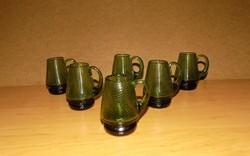 Antik zöld üveg röviditalos pohár készlet 6 db (1/K)