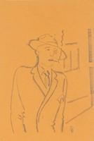 0Y188 Art deco ceruzarajz : Dohányfüst