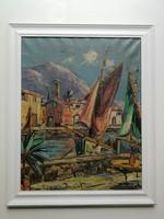 Mediterrán kikötő festmény - NAGYON SZÉP ÉLÉNK SZÍNEKKEL