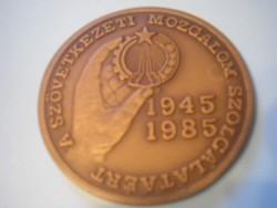 U8 Bronz 1945 jubileumi 1985 emlék plakett a felszabadulás 40.évfordulójára