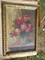 Hoitsy Fridolin, rózsa csendélet, sérülésekkel, kartonon