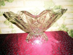 Retró , vastagfalu üveg asztalközép , kínáló