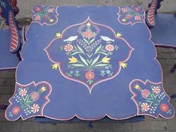 Népi festett bútor garnitúra 1927 Hartai felújított, Ágy szekrény székek komód asztal tükör fogas