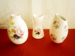 3 db Aquincumi nagyon szép porcelán váza virág mintával