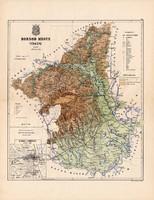 Borsod megye térkép 1887 (1), vármegye, atlasz, Kogutowicz Manó, 43 x 56 cm, Gönczy Pál, Miskolc