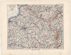 Északkelet - Franciaország politikai térkép 1892, eredeti, Meyers atlasz, német nyelvű, Párizs