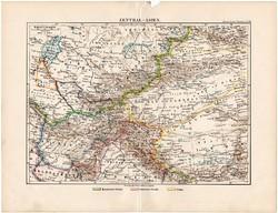 Közép - Ázsia térkép 1892, eredeti, Meyers atlasz, német nyelvű, Tibet, Afganisztán, Turkestan