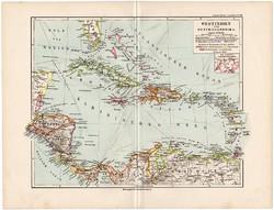 Nyugat - Indiai - szigetek térkép 1892, eredeti, Meyers atlasz, német nyelvű, Amerika, közép, Kuba