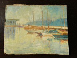 Vitorlás kikötő antik jelzett festmény