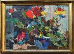 Sarkantyu Simon (1921 - 1989) Tulipánok c.Képcsarnokos Olajfestménye 67x50cm EREDETI GARANCIÁVAL !