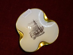 Ausztriai porcelán hamutál, MÖDLING RATHAUS látképpel. Arany szegélyes.