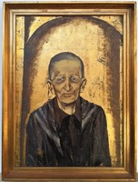 Záborszky Viola (1935 - ) Idős hölgy portréja c. Olajfestménye 80x60cm EREDETI GARANCIÁVAL !!!
