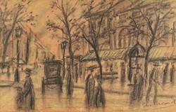 0Y223 XX. századi festő : Párizsi utcarészlet
