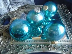 Régi üveg  türkiz kék-zöld  karácsonyfa dísz.