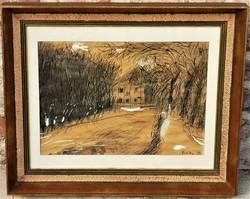 Bozóky Mária (1917 - 1996) Havas park öreg házzal c festménye EREDETI GARANCIÁVAL !!