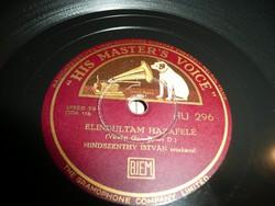 Gramofon lemez  His M.V. Record - Mindszenthy - Elindultam hazafelé -Erdély felé  Gyönyörű állapot!
