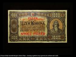 1000 KORONA /8 FILLÉR UTÓNYOMATTAL - 1923 NAGYON SZÉP!