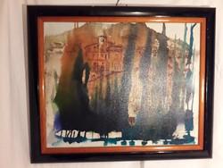 Franz Stenders - Toszkán táj - acryl / vászon festmény - jelzett eredeti
