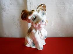 Aranyos kajla fülű jelzett porcelán kutya 17 cm magas