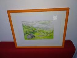 Tájkép, jelzett kép festmény, grafika keretben, grafikai alkotás, szép kvalitás!