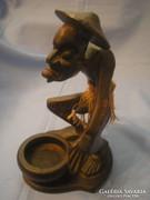 U1 Afrikai erotikus szantálfa szobor 28cm ritkaság egyben faragott összekötés nélküli szépség