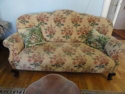 Ülőgarnitúra 2 fotel + kanapé oroszlánlábas azonnal vihető korának megfelelő jó álapotban
