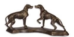 Öntöttvas kutya szobor